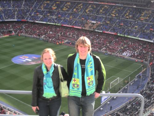 My brother and at FC Barcelona's Camp Nou